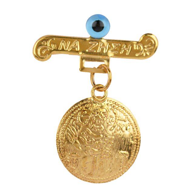 Φυλαχτό με παραμάνα σε χρυσό 9 καρατίων με Κωνσταντινάτο