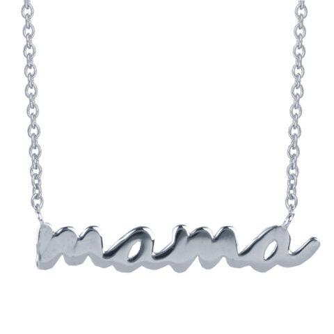 """Κολιέ """"μαμά"""" σε ασήμι 925. Το κολιέ με την πιο όμορφη λέξη στον κόσμο σε ασήμι 925. Φέρει αυξομείωση στην αλυσίδα για τέλεια εφαρμογή."""
