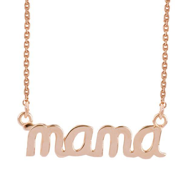 """Κολιέ """"μαμά"""" ασημένιο επιχρυσωμένο με ροζ χρυσό 14 καρατίων. Το κολιέ """"μαμά"""" σε ασήμι 925 με επιχρύσωμα ροζ χρυσού 14 καρατίων που αναδεικνύει την εμφάνιση και την αντοχή του κοσμήματος."""