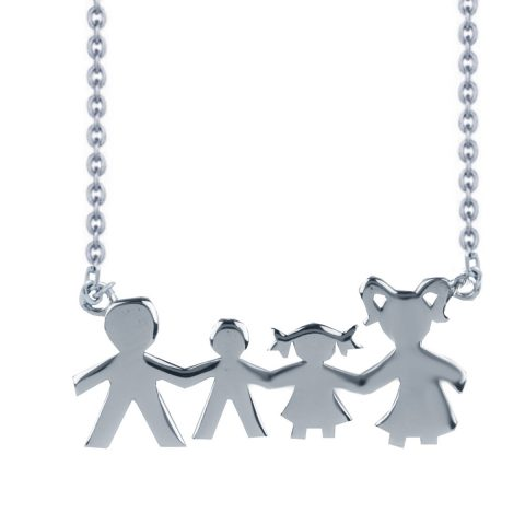 """Κολιέ """"Οικογένεια"""" σε ασήμι 925 με ένα αγοράκι και ένα κοριτσάκι. Από την σειρά των κολιέ """"Οικογένεια"""" σε επιπλατινωμένο ασήμι 925"""