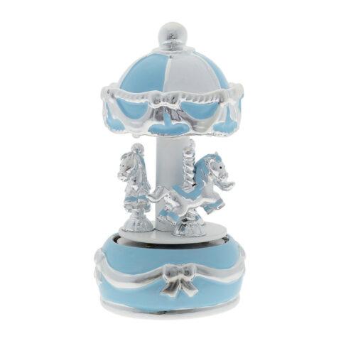 Μουσικό Καρουζέλ σε Γαλάζιο Χρώμα. Ένα κομψό γαλάζιο καρουζέλ με αλογάκια και φίνες επάργυρες λεπτομέρειες