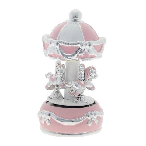 Μουσικό Καρουζέλ σε Ροζ Χρώμα. Ένα κομψό ροζ καρουζέλ με αλογάκια και φίνες επάργυρες λεπτομέρειες