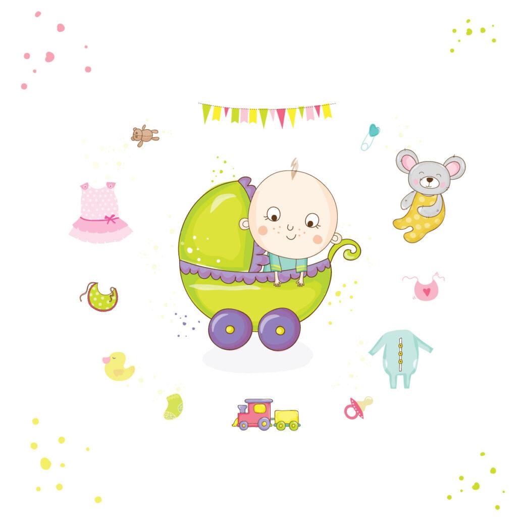 Ζωγραφιά με μωρό σε καρότσι και γύρω του διάφορα είδη προίκας μωρού